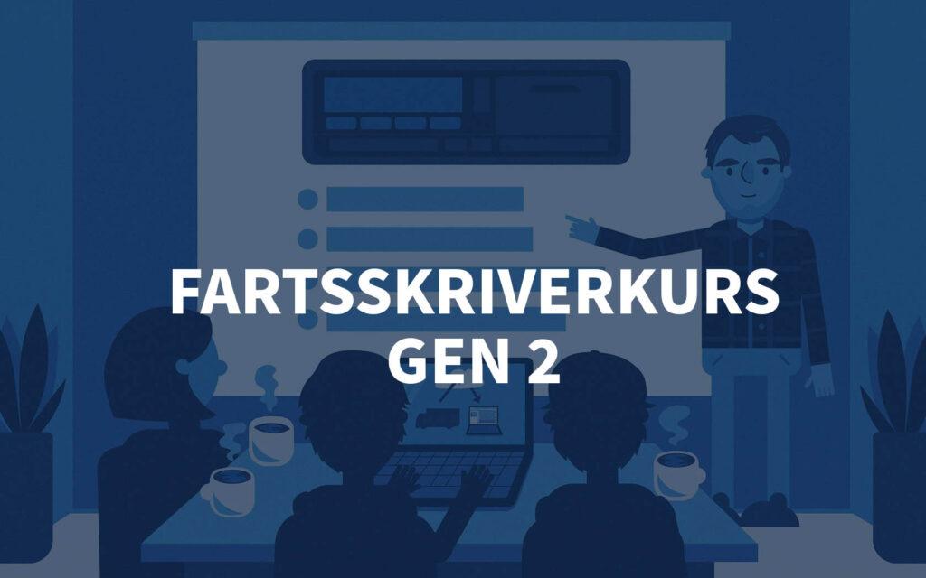 Grafisk bilde av et kursrom hos Fartskriver AS med teksten Fartsskriverkurs GEN 2