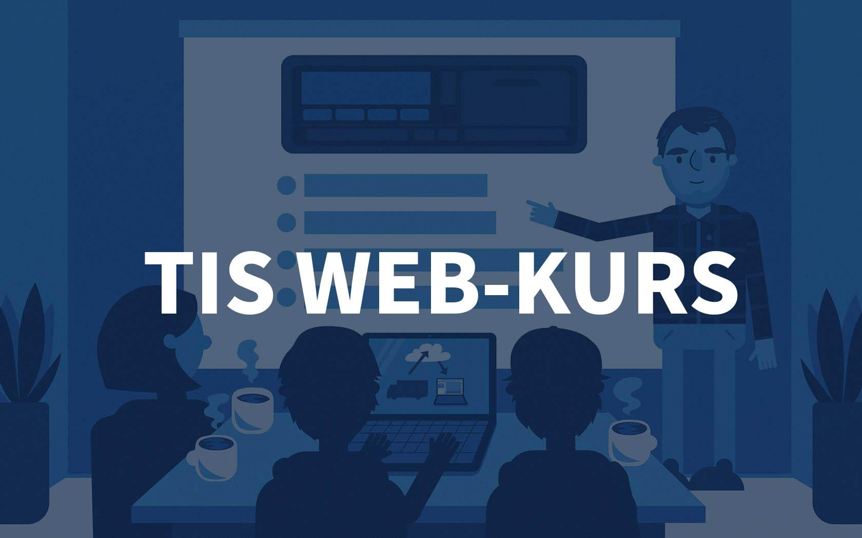 Grafisk bilde av et kursrom hos Fartskriver AS med teksten TIS WEB-kurs