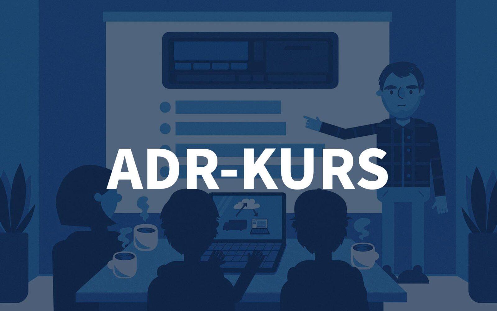 Grafisk bilde av et kursrom hos Fartskriver AS med teksten ADR-kurs